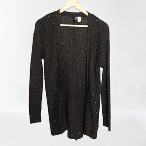 2/$20 - H&M Long Open Black Cardigan with Sequins